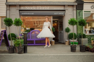 Betty's Bolero, £40 and Betty Blossom wedding dress, £395 available exclusively at kittyandulcie.com Hair accessory floandpercy.com 00188