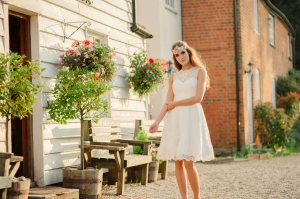 Summer Rose wedding dress, £345 available exclusively at kittyanddulcie.com Hair accessory from floandpercy.com 00277