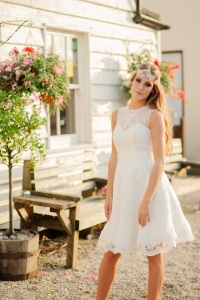 Summer Rose wedding dress, £345 available exclusively at kittyanddulcie.com Hair accessory from floandpercy.com 00288