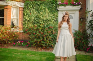 Sweet Audrey wedding dress, £350 available exclusively at kittyanddulcie.com Hair accessory from floandpercy.com  00205